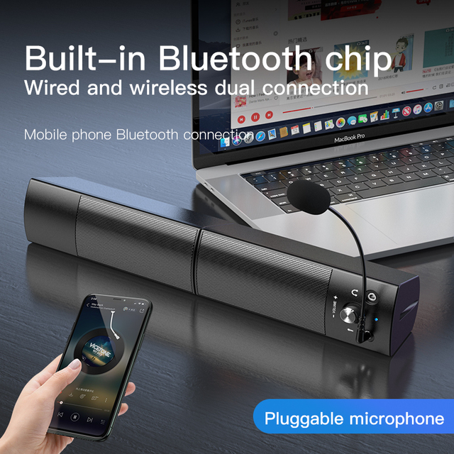 Computer Speakers Detachable Bluetooth Speaker Bar Surround Sound Subwoofer For Computer PC Laptop USB Wired Dual Music Player 3