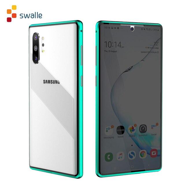 2021 Metal manyetik adsorpsiyon cam kılıf Samsung Galaxy not 8 9 10 artı S10 S9 S8 artı Anti casus ekran kılıfı kapak Coque