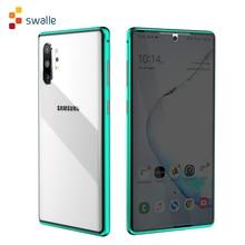Funda de cristal de adsorción magnética de Metal 2020 para Samsung Galaxy Note 8 9 10 Plus S10 S9 S8 Plus, protector de pantalla antiespía