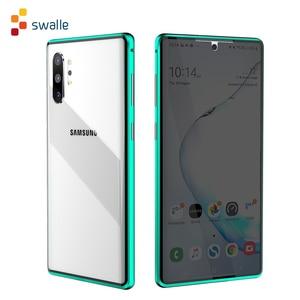 Image 1 - Funda de cristal de adsorción magnética de Metal 2020 para Samsung Galaxy Note 8 9 10 Plus S10 S9 S8 Plus, protector de pantalla antiespía