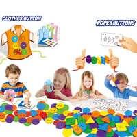 Los niños habilidades de Motor finas juguete coser botones cuerda ropa botones cordones de Juguetes juego de costura juguete educativo para niños