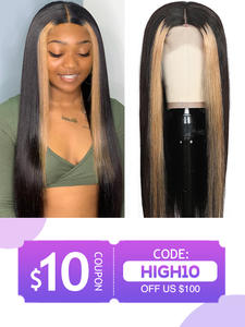 Unice Wigs Highlight Human-Hair-Wigs Lace-Front Straight Brazilian 13x4 Remy 8-24-
