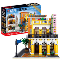 3158Pcs 3D Steet View Coffee Shop MOC Small Particle Building Blocks DIY Construction Model With Light Educational Toy For Kids