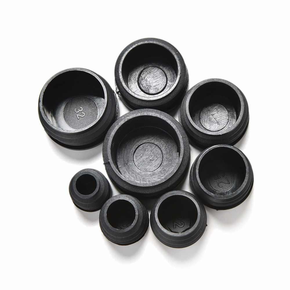10Pcs 검은 플라스틱 가구 다리 플러그 블랭킹 엔드 캡 삽입 플러그 둥근 파이프 튜브 8 크기에 대 한 마개