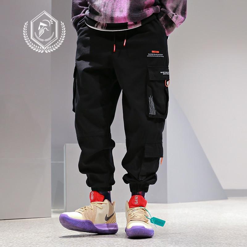 Men Loose Safari Style Cargo Pants Fashion Harem Jogger Pants Ankle-Length Hip Hop Pants
