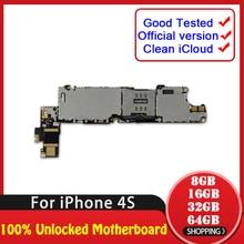 8 ГБ 16 ГБ 32 ГБ 64 ГБ для iphone 4S материнская плата с полной разблокировкой, нет iCloud для iphone 4S логическая плата с системой IOS, хорошо протестирована