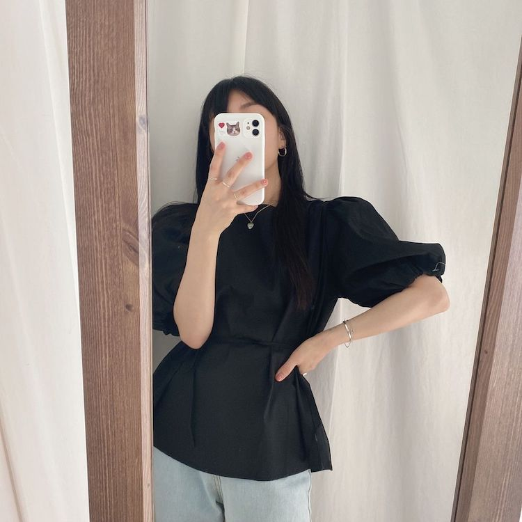 H35f608adbd554cb085c9b2c407c0a5c3K - Summer O-Neck Short Puff Sleeves Cotton Lace-Up Solid Blouse