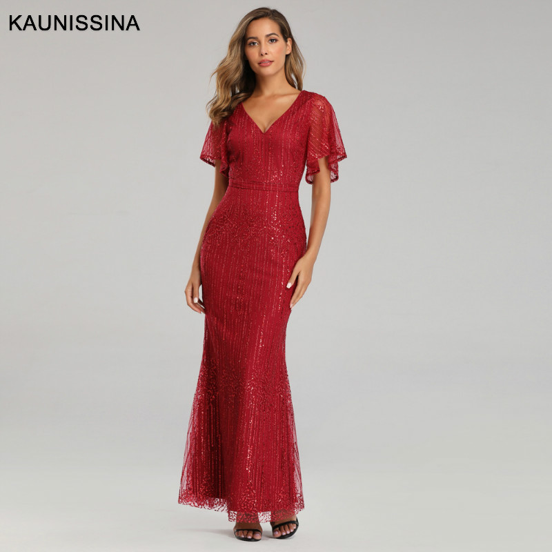 KAUNISSINA Elegant Formal Dress Mermaid Evening Gowns V-Neck Short Sleeve Sexy Evening Dresses Women Long Sequined Party Gown