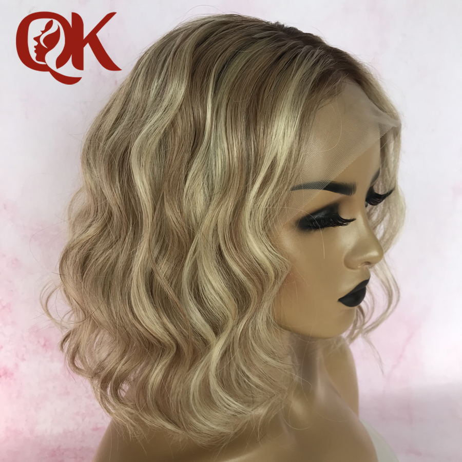 QueenKing Hair Lace Front Wig 180% Lemi Color Bob Wig Ombre Free Part Preplucked Brazilian Human Remy Hair
