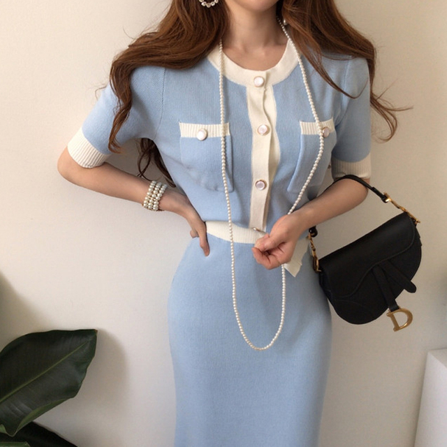 Elegant Knitted 2 Pieces Sets Single Breasted Short Sleeve O-neck Top + High Waist Long Skirt 2