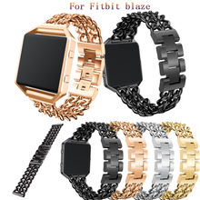 Watchbands Bracelet Fitbit Blaze Denim Chain Stainless-Steel Sport Alloy for Without