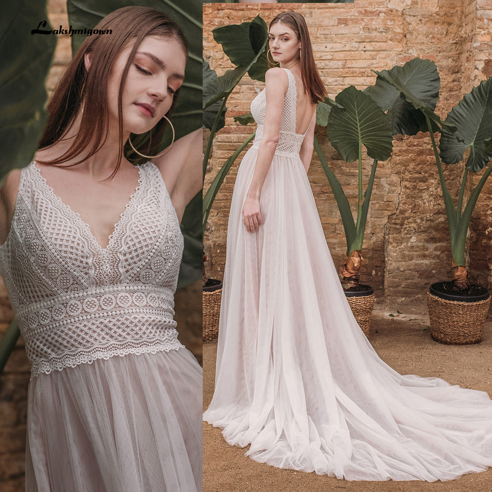Sommer Spitze Bohemian Wedding Kleider 2021 V Neck Boho Spitze Braut Kleid Tüll Strand Brautkleid trouwjurk Lakshmigown
