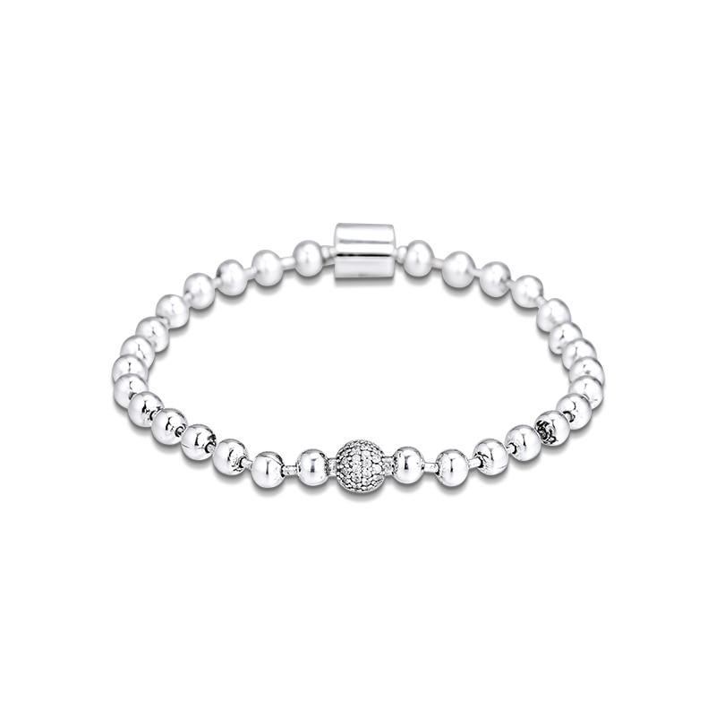 Beads & Pave Bracelet 925 Sterling Silver Jewelry For Women Bracelet DIY Jewelry Fit European Beads