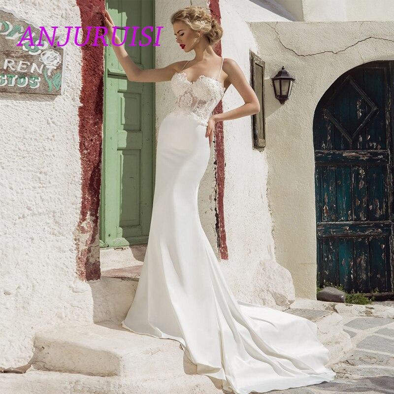 ANJURUISI Elegant Mermaid Wedding Dress Sexy Appliqued Bridal Dress Spaghetti Strap Lace Wedding Gowns 2019 Robe De Mariée