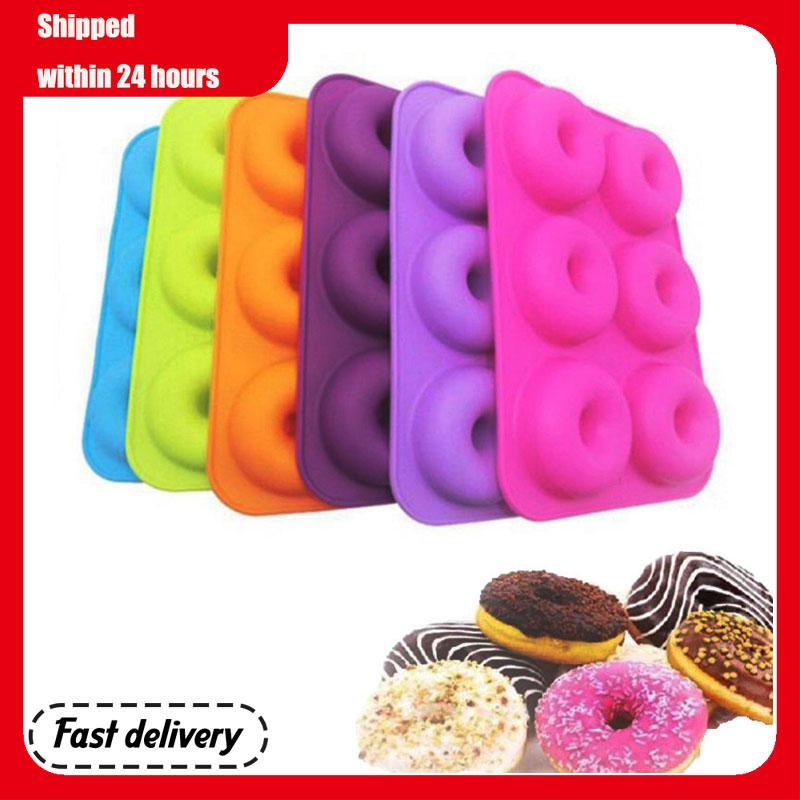 6-cavidade moldes de silicone donut assadeira bandeja não-vara molde sobremesa ferramenta de cozimento não-deformação moldes reutilizáveis resistentes ao calor
