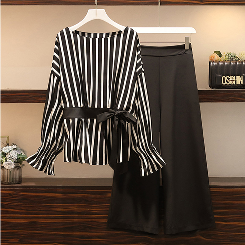 L-5XL Plus Size Summer Office 2 Piece Set Women Batwing Sleeve Bow Tie Striped Blouse + Wide Legs Pants Set Casual Loose Suit