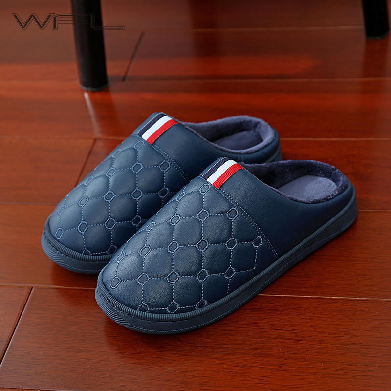 WFL Men's Shoes Cotton Warm Home Couples Women Men Winter Slippers PU Soft Thick Non-slip Bottom Slipper For Men Indoor Shoes