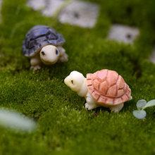 Resin Turtle Ornament Family Micro Landscape Decoration Mini Turtle Crafts Miniatures Figurines For Home Decor Turtle Accessorie