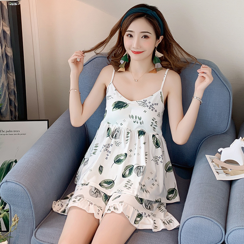 Orange Summer Combing Pure Cotton Camisole With Chest Pad Shorts Two-Piece Set Women's Sweet Clear-Outer Wear 6624 #