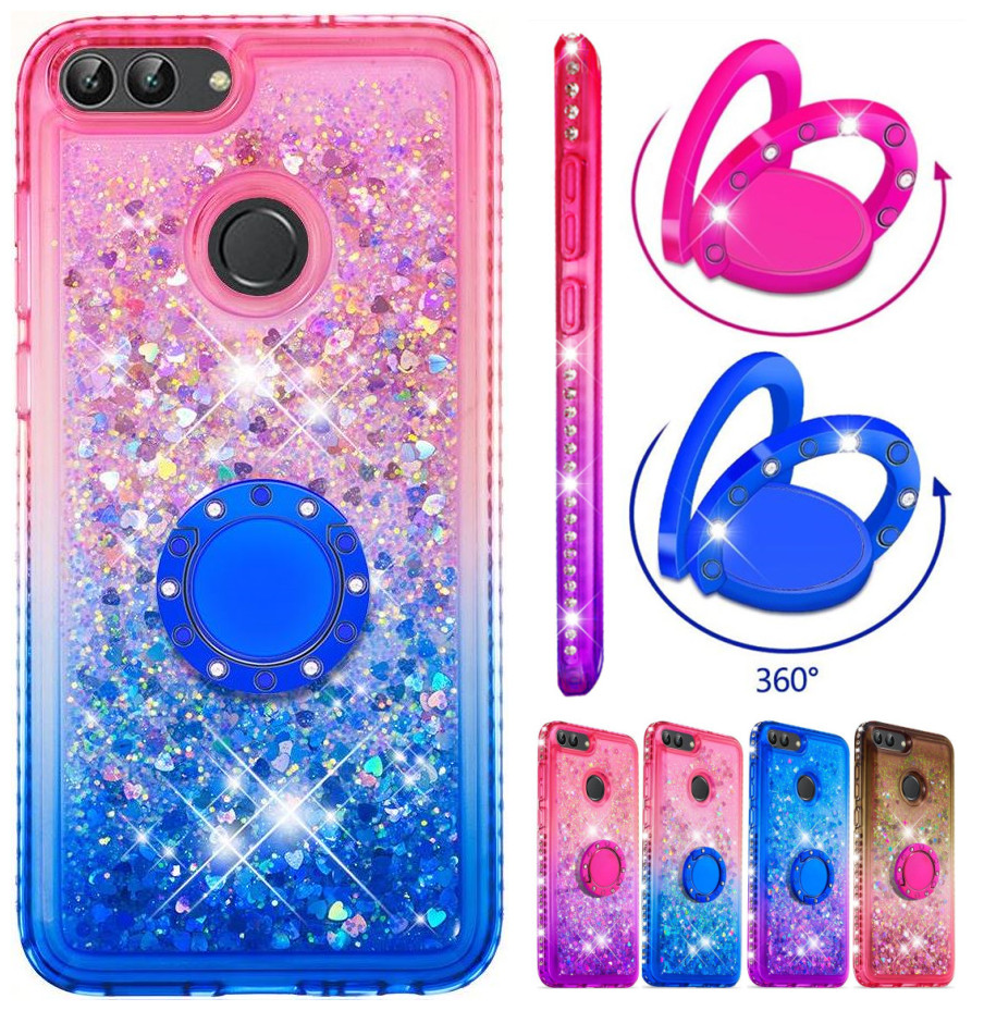 Glitter Quicksand Phone Case With Ring For LG Stylo 5 4 Q Stylus Stylus4 Gradient Color Back Cover Sequins Diamond Shell E03H