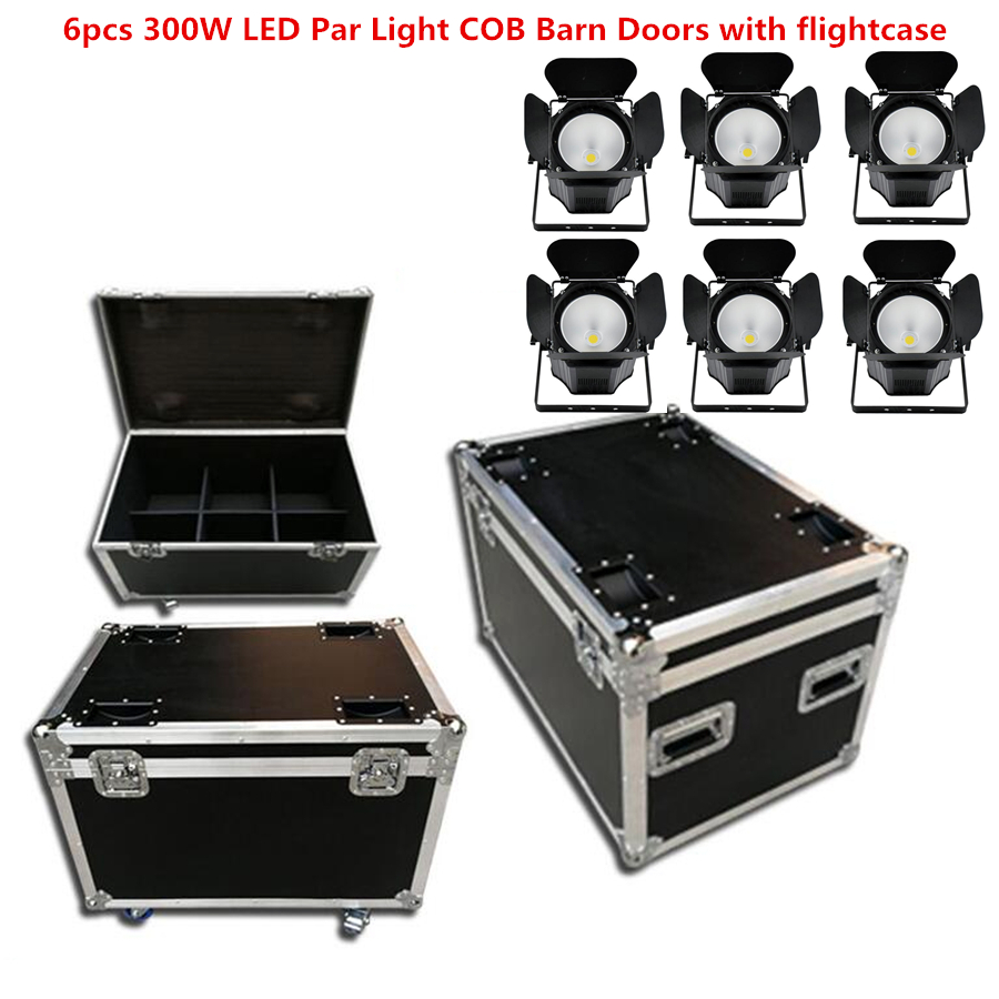 6X 300W LED Par Light COB Barn Doors With Flightcase Led Beam Wash Strobe Effect Stage Lighting,Cold White + Warm White RGBWA+UV