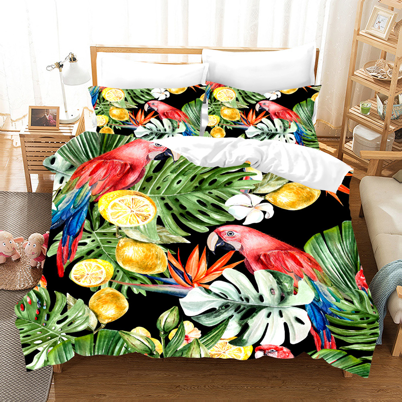 Yi chu xin 3d  tropical plant bedding set luxury Toucan duvet cover set  200*200 bed comforter Custom size