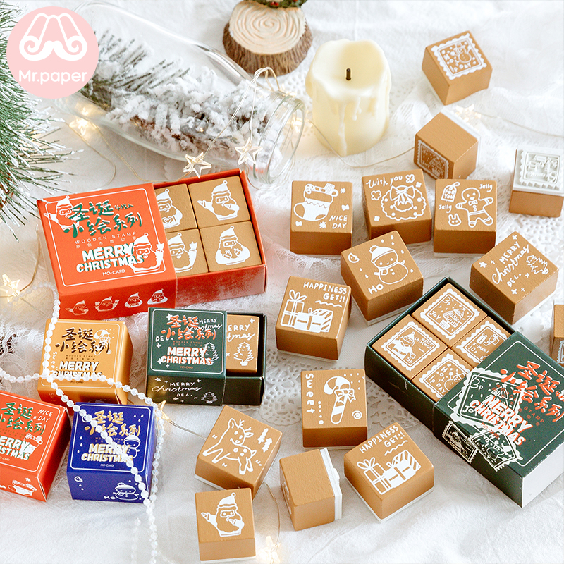 Mr Paper Merry Christmas Candy Box Package Wooden Rubber Stamps For Scrapbooking Deco DIY Craft Wooden Stamps Child Gift Box