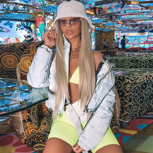 Image 5 - KLALIEN vestes courtes réfléchissantes pour femmes, poches, mode 2019, taille haute, vêtement chaud épais, collection hiver veste pour homme