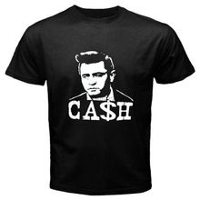 New Johnny Cash Rock and Roll Legend Music Mens Black T-Shirt Size S to 3XL