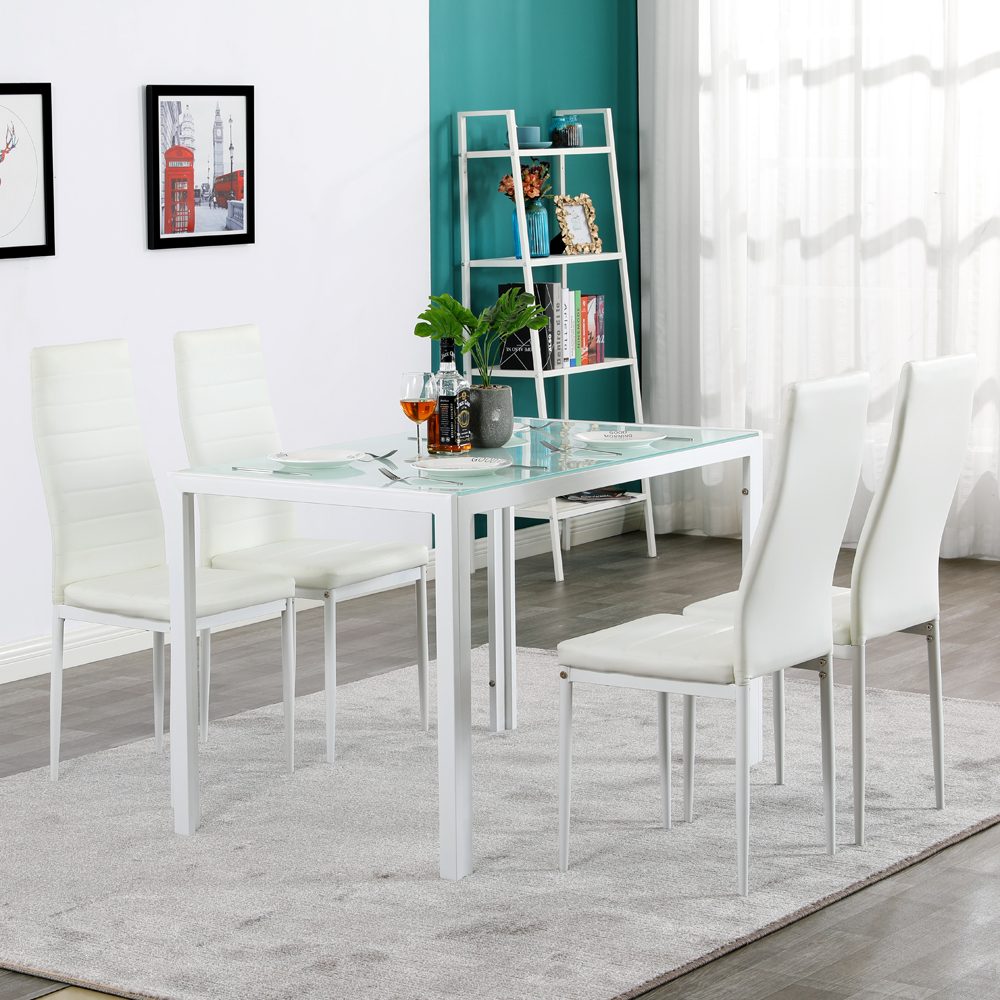 120cm Dining Table Set With Toughened Glass Dining Table, With 4 High Back Chairs, Transparent Milky White Dining Table