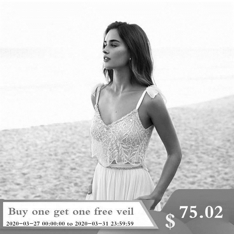 2019 Two Piece Lace Boho Wedding Dresses Spaghetti Neck Beads Backless Bride Gowns Sweep Train Beach Chiffon Wedding Dress