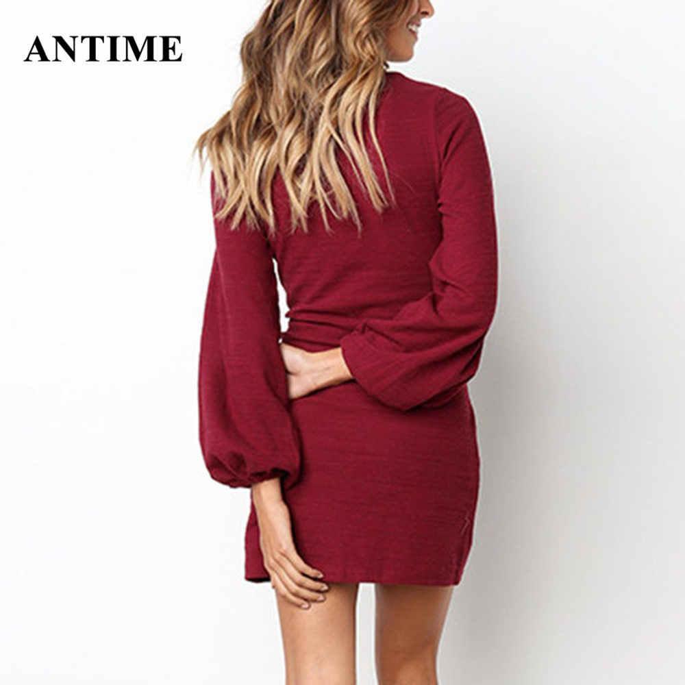 Antime Automne Hiver Mode à lacets Mini Robe décontracté Solide O Cou Lanterne À Manches Longues Femmes Blanc Rouge Vert Robes Robes