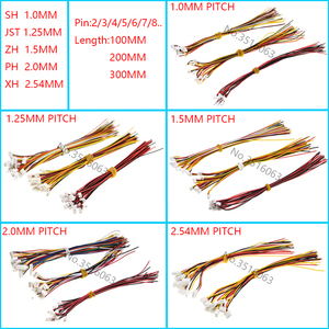 10PCS 1.0 1.25 1.5 2.0 2.54 SH/JST/ZH/PH/XH 1.0MM 1.25MM 1.5MM 2.0MM 2.54MM female plug connector with wire 2/3/4/5/6/7/8/P Pin