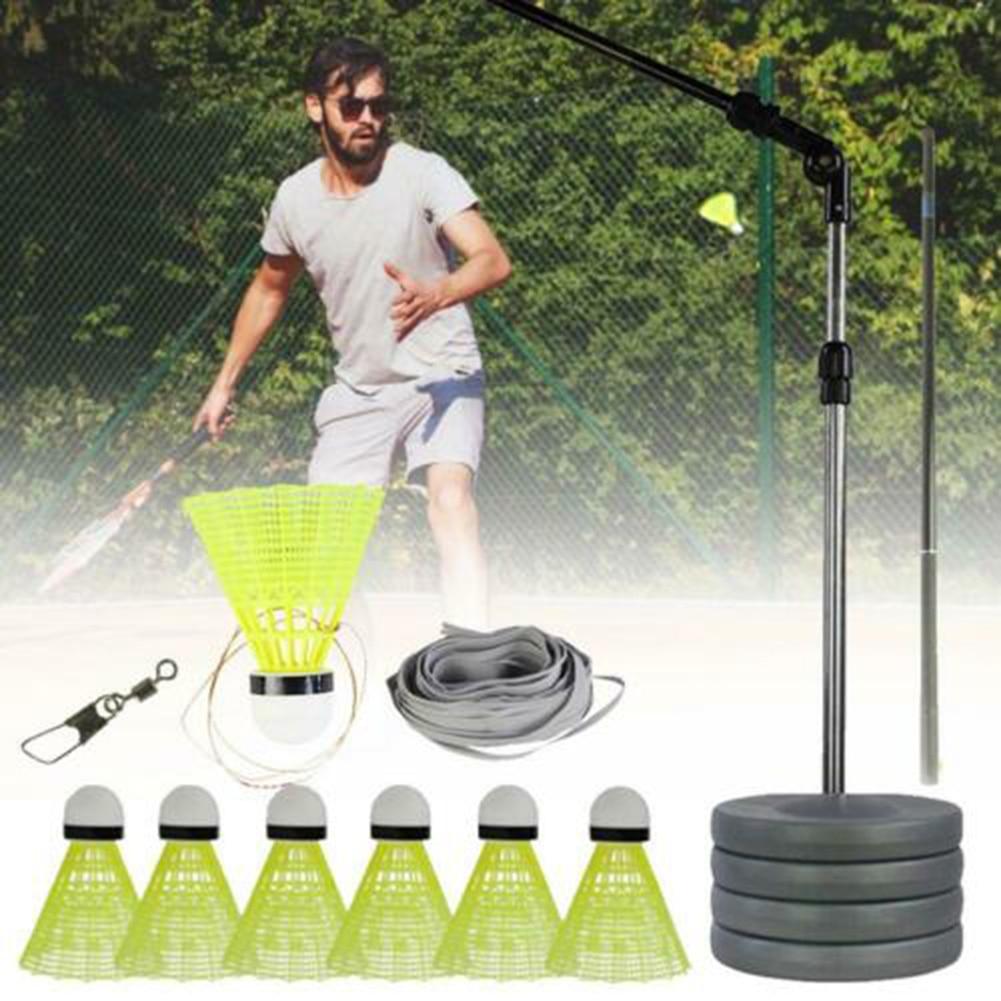 Elastic Badminton Trainers With Telescopic Rod Portable Badminton Training Set For Adults Kids B2Cshop
