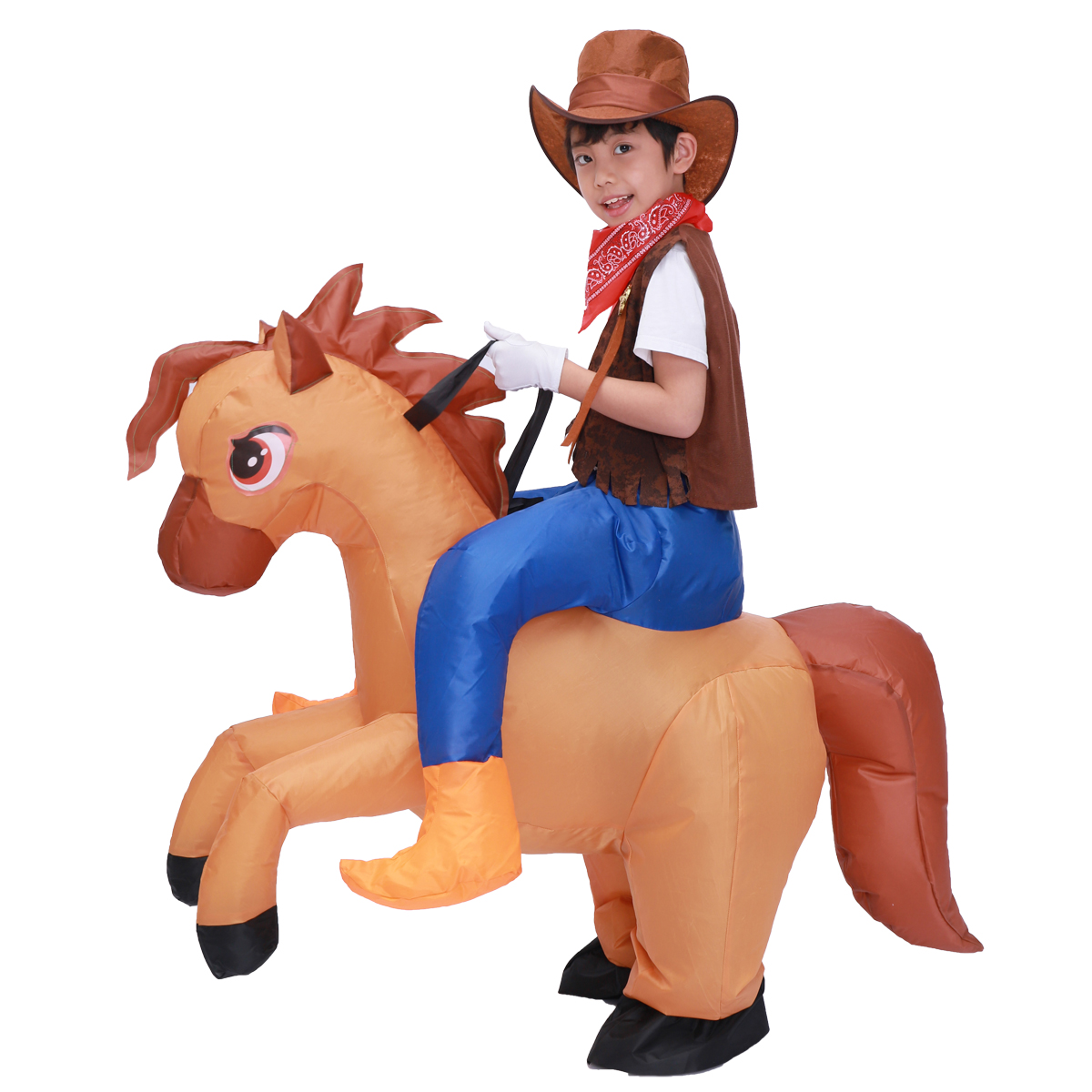Kids Child Inflatable Horse Costume Cosplay Girls Boys Cowboy Ride Horse Funny Halloween Purim Party Inflated Garment Disfraces