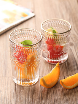 Nordic Pyneumbh Glass Retro Sun Flower Embossed Water Cup ISN Thickened Juice Cup Heat-resistant Breakfast Glass Wine Glass image