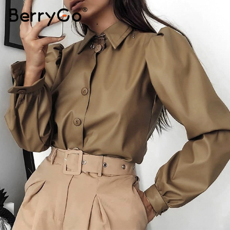 BerryGo Faux Pu Leather Blouse Women Shirts Vintage Long Puff Sleeve Tops Shirt Turn-down Collar Button Office Lady Blouse Blusa