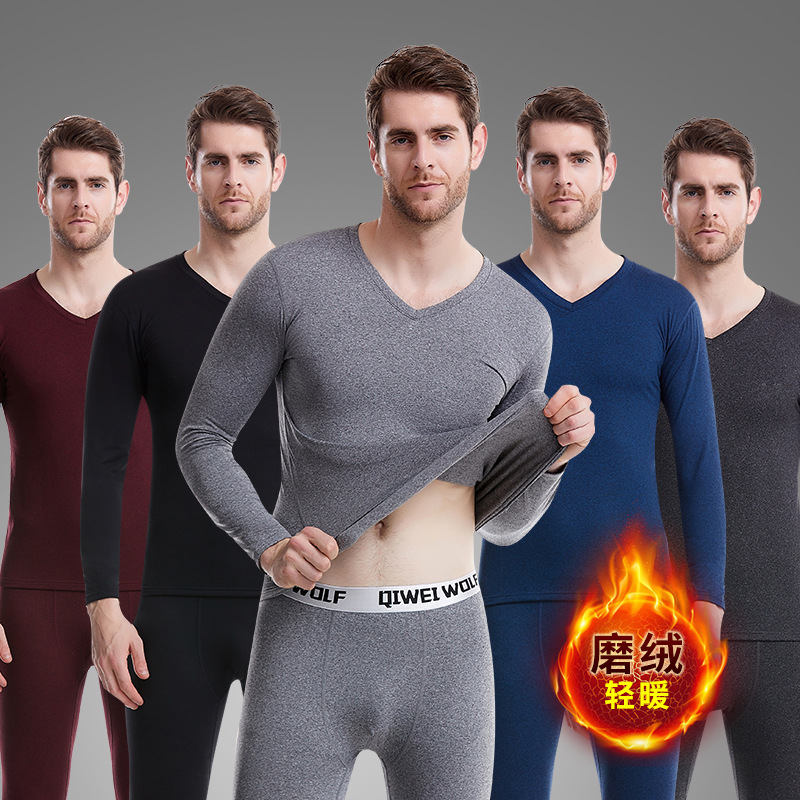 New Style Men Thermal Underwear Cationic V-neck Thermal Underwear Men Buffing Thermal Suit Two-Piece Set(China)