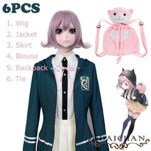 Комплект из 6 предметов, костюм для косплея Danganronpa Chiaki Nanami, куртка, рубашка, юбка, парик, галстук, кошка, рюкзак