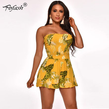 Pofash 2020 Yellow Print Jumpsuit Romper 여성 여름 Strapless Pleated Hollow Out Ruffle Playsuit 민소매 점프 슈트 전체(China)