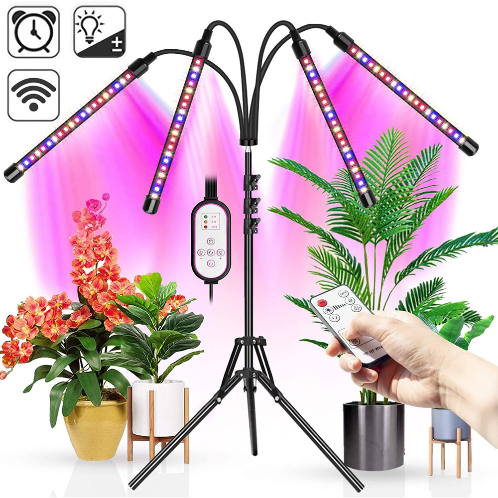 Grow Lights with Tripod 80 Leds Plant Light Full Spectrum with Dual Controllers Phyto Lamp For Indoor Vegetable Flower Seedling