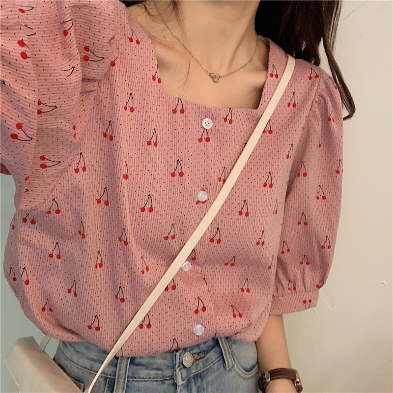 HziriP 2020 Summer Vintage Casual Women Blouses Simple Loose Print Cherries Sweet Shirts Female Puff Sleeves All-Match Tops