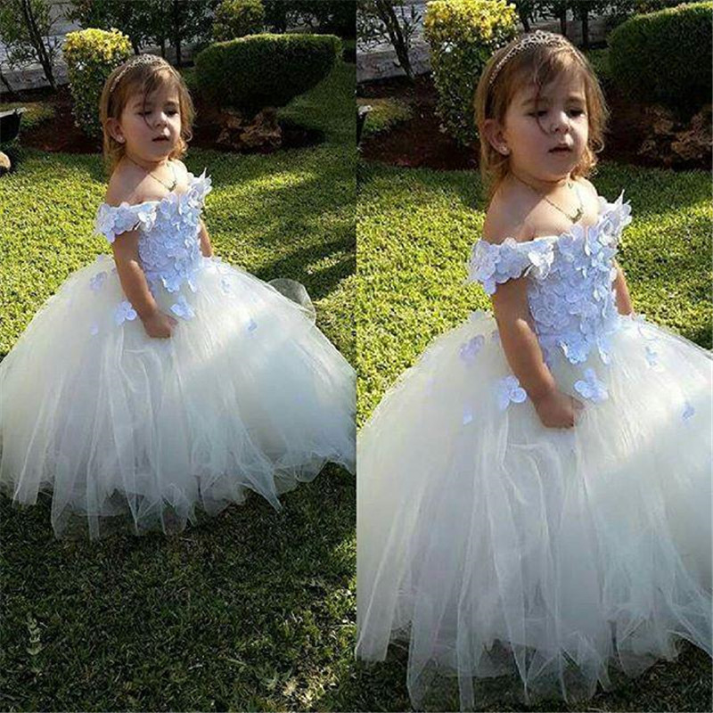 New White Ivory Lace 3D Flowers Baby Girls Ball Gown for Wedding Party Off the Shoulder Little Girls Clothes Special Occasion