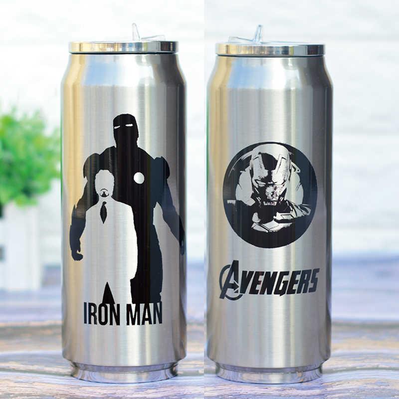 สแตนเลสสตีล Super Hero Avenger Justice League Thermos แบบพกพา Unisex นักเรียนบุคลิกภาพอินเทรนด์ถ้วยฟาง