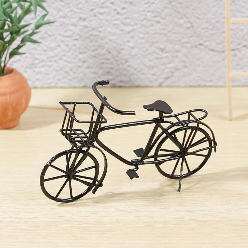 1:12 Dollhouse Mini Simulation Model Black Metal Ladies Bicycle With Basket Furniture Outdoor Garden Decoration Toys Kids Gift
