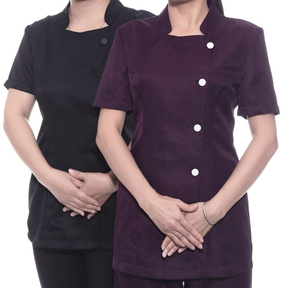 Womens SPA Beauty Salon Beautician Tunic Nail Massage Therapist Uniform Top Quality Work Uniform Short Sleeves Nursing Uniform