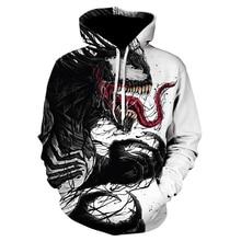 Venom sweatshirt with 3d hood| new| off white| movie print| skull| menswear| autumn winter| sweatshirt| jackets| pullover| warm