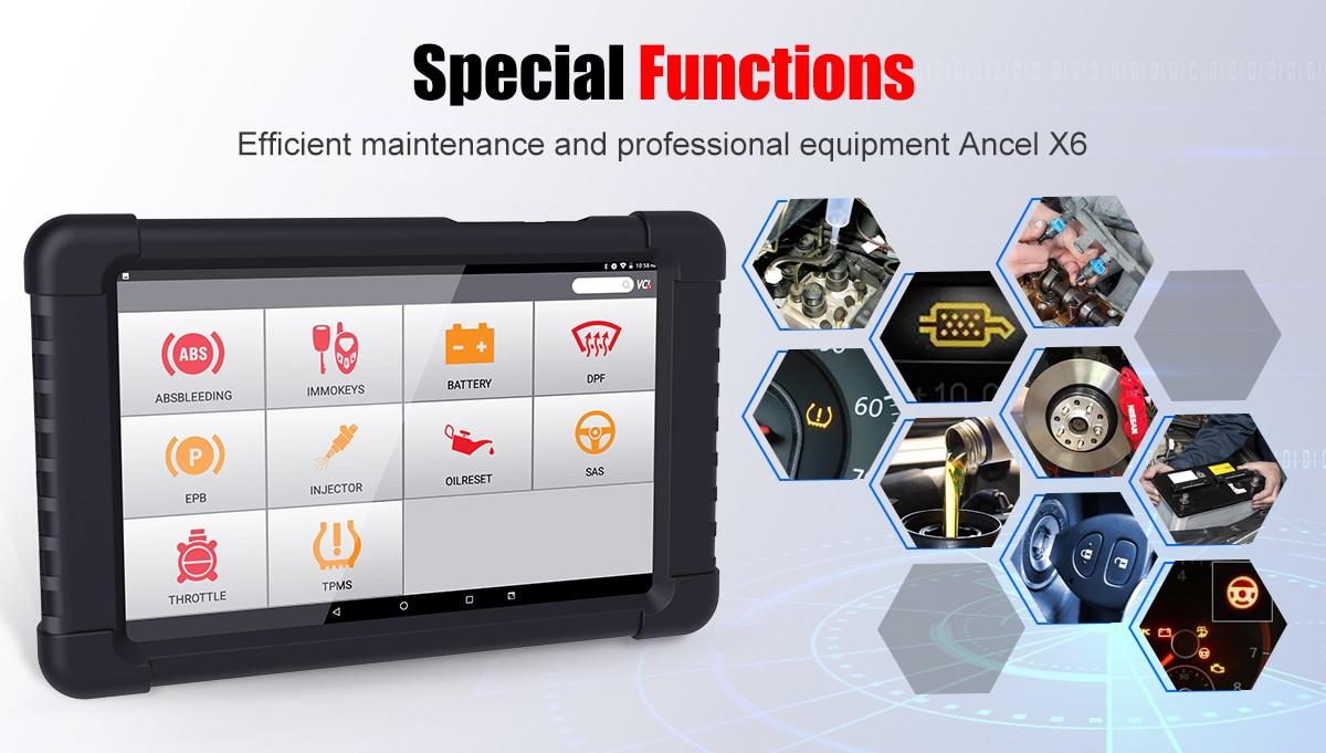 Ancel X6 Bluetooth Automotive Full System Bidirectional OBD2 Diagnostic Scanner
