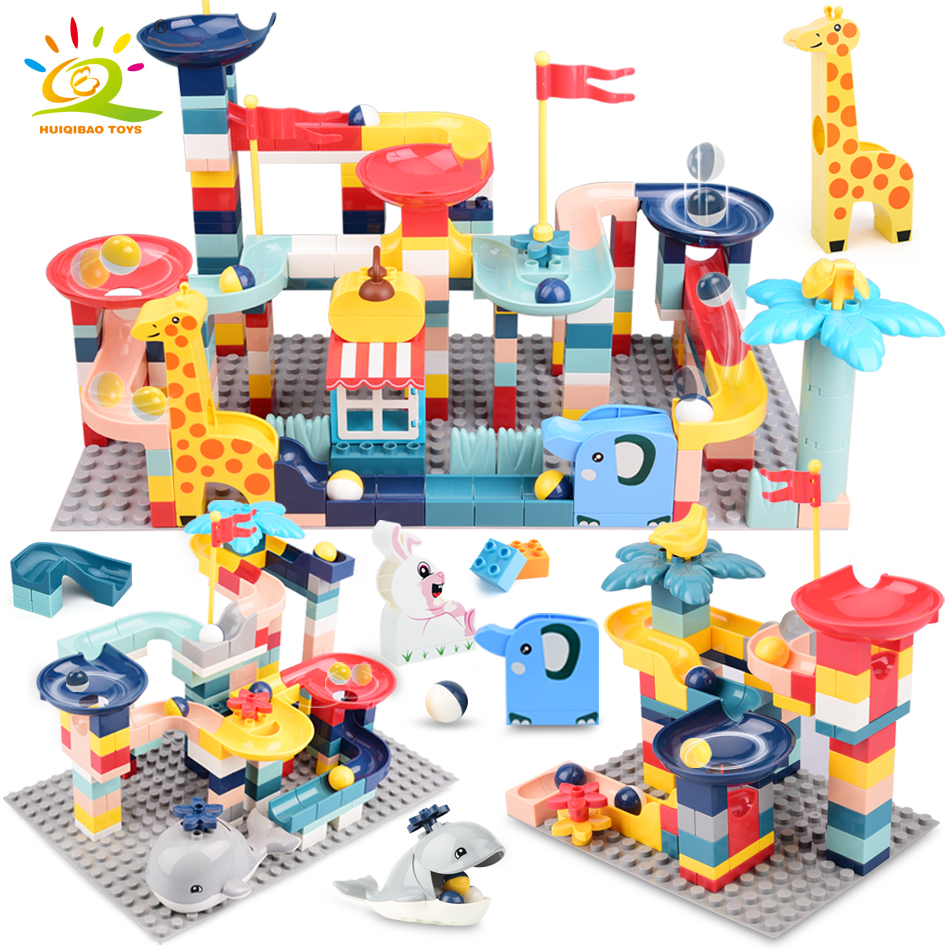HUIQIBAO 86-217PCS Animals Marble Race Duploed Size Building Blocks Big Bricks with Baseplate Run Ball Track Children Kids Toys