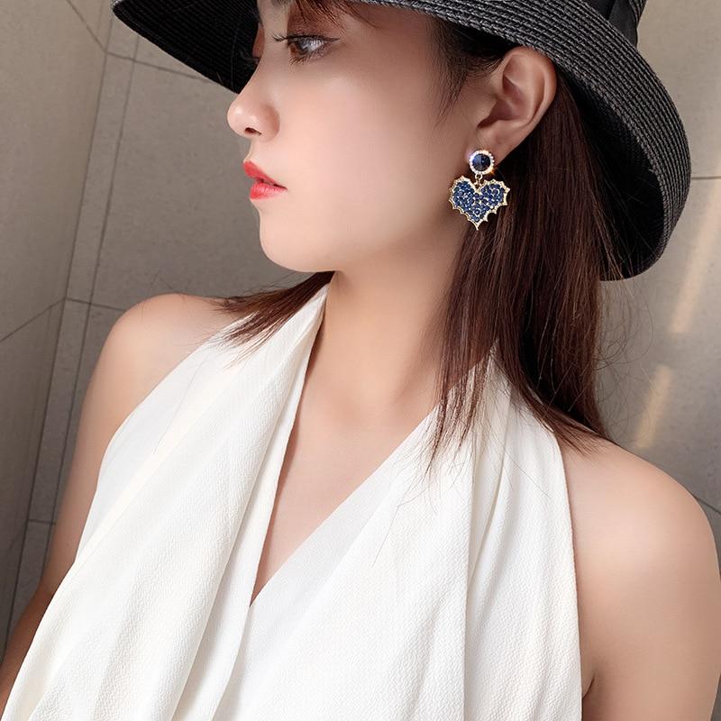 Fashion Romantic Cute Crystal Heart Drop Earrings For Women New Design Cubic Zirconia Female Earrings Party Birthday Jewelry
